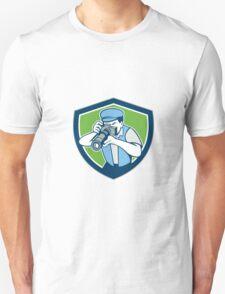 Photographer Shooting Camera Shield Retro Unisex T-Shirt