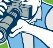 Photographer Shooting Camera Shield Retro Sticker