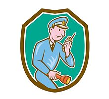 Policeman Torch Radio Shield Cartoon by patrimonio