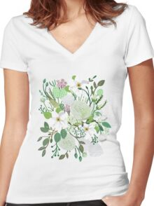 Floral Forest Women's Fitted V-Neck T-Shirt