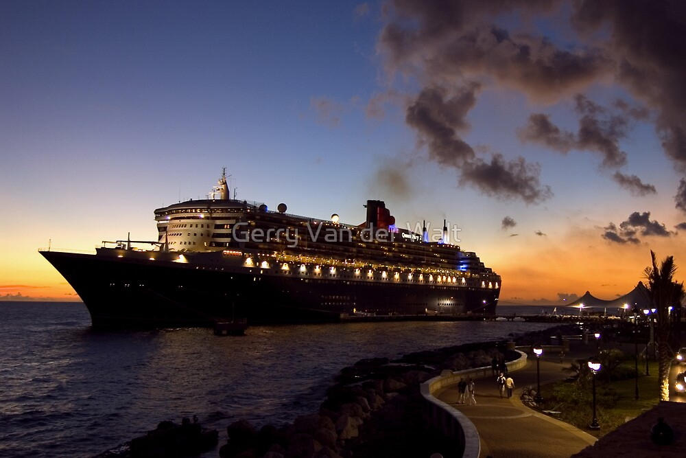 Queen Mary 2 - Docked in Curacao by Gerry Van der Walt
