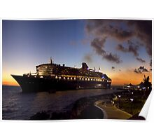 Queen Mary 2 - Docked in Curacao Poster