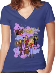Once Upon An Adventure Time! Women's Fitted V-Neck T-Shirt