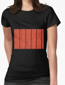 Red painted wood background Womens Fitted T-Shirt
