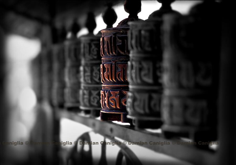 Prayer Wheels, Kathmandu, Nepal by damiancaniglia
