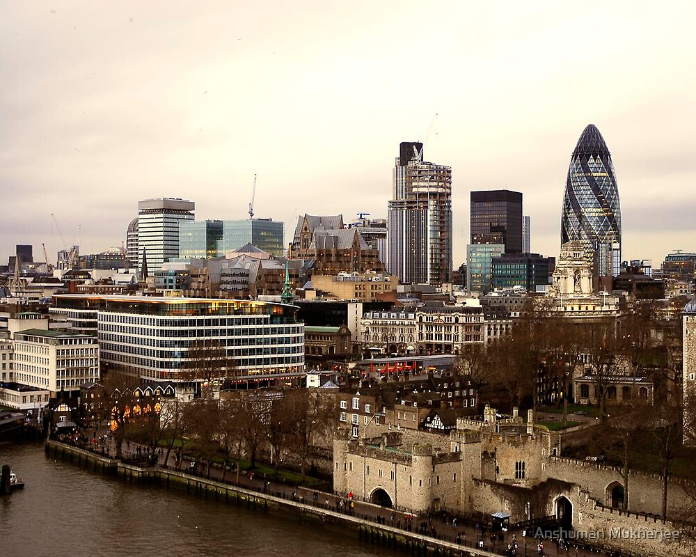 London from Tower Bridge by Anshuman Mukherjee