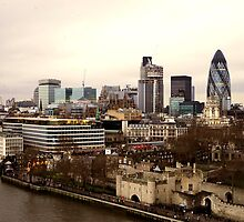 London from Tower Bridge by Anshuman Mukherjee