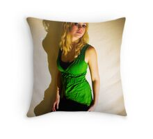Sanna in green II Throw Pillow