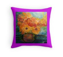Autumn Flowers Art Designed - Purple Throw Pillow