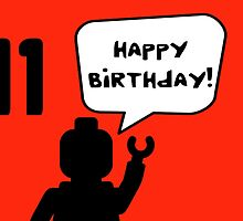 Happy 11th Birthday Greeting Card by Customize My Minifig