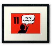 Happy 11th Birthday Greeting Card Framed Print