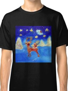Little Angel on a Reindeer by Marie-Jose Pappas Classic T-Shirt
