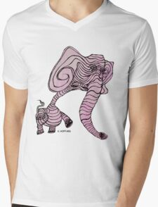 Pink Elephant Mens V-Neck T-Shirt