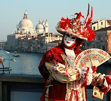 Masked Woman on the Accademia Bridge, Venice, Italy by Vincent Abbey