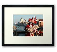 Masked Woman on the Accademia Bridge, Venice, Italy Framed Print