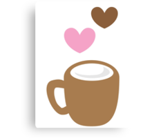 LOVE COFFEE funky retro simple coffee cup with love heart Canvas Print