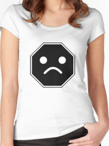 UNHAPPY MINIFIG FACE ROADSIGN  Women's Fitted Scoop T-Shirt