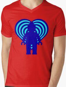 RETRO MINIFIG IN FRONT OF HEART Mens V-Neck T-Shirt