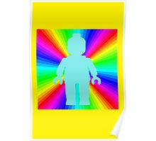 Blue Minifig in front of Rainbow Poster