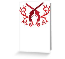 Red pistol guns with thorns Greeting Card