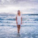 Woman Walking in Ocean Oil Painting by Myron Watamaniuk