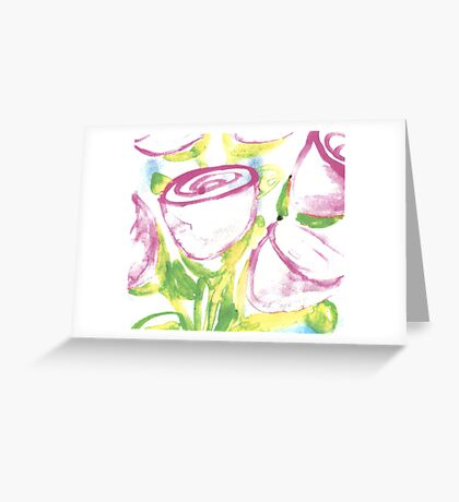 watercolor - cupped roses  Greeting Card
