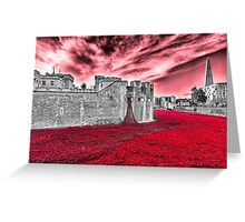Poppies At The Tower - the very sky weeps Greeting Card