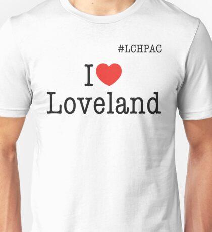 I heart Loveland #LCHPAC White t-shirt Unisex T-Shirt