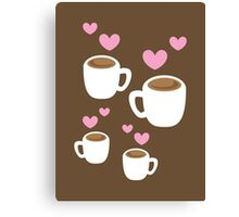 Coffee cups group with love hearts cute! Canvas Print