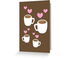 Coffee cups group with love hearts cute! Greeting Card