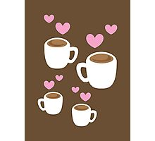 Coffee cups group with love hearts cute! Photographic Print