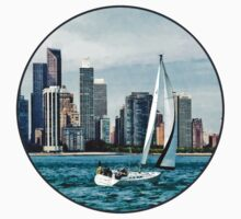 Chicago IL - Sailboat Against Chicago Skyline One Piece - Short Sleeve