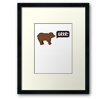 GRRR grizzly brown bear growling Framed Print
