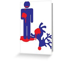 Zombie man eating Rudolph the reindeer an Alternative Christmas idea Greeting Card