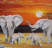 Family of Elephants by Marina Coffey