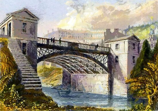 Cleveland Bridge, Bath in the 19th century by Dennis Melling