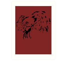 Tribal Phoenix - Black Art Print