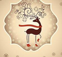 Elegant Reindeer Christmas Card - Happy Holidays by solnoirstudios