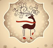 Elegant Reindeer Christmas Card - Happy Holidays by Sol Noir Studios
