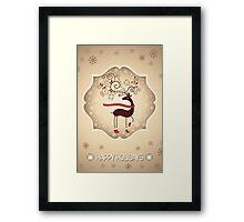 Elegant Reindeer Christmas Card - Happy Holidays Framed Print