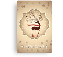 Elegant Reindeer Christmas Card - Happy Holidays Canvas Print