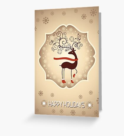 Elegant Reindeer Christmas Card - Happy Holidays Greeting Card