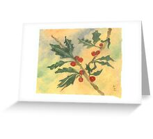 Christmas Holly Watercolor 15c Greeting Card