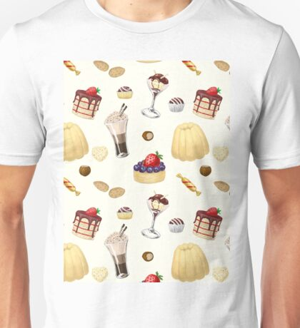 Sweet pattern with various desserts. Unisex T-Shirt