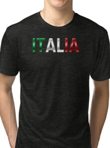 Italia - Italian Flag - Metallic Text Tri-blend T-Shirt