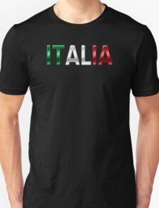 Italia - Italian Flag - Metallic Text T-Shirt