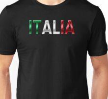 Italia - Italian Flag - Metallic Text Unisex T-Shirt