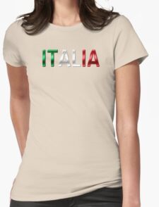 Italia - Italian Flag - Metallic Text Womens Fitted T-Shirt