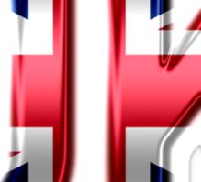UK - British Flag - Metallic Text Sticker