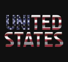 United States - American Flag - Metallic Text Kids Clothes